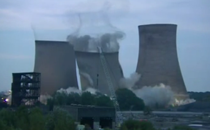 Watch as three massive water towers are demolished in under ten seconds